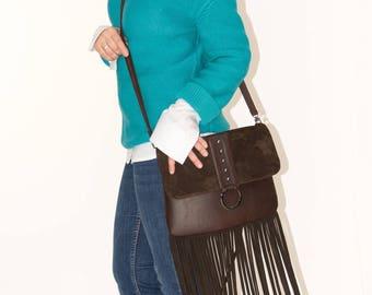 Brown bag with fringe Leather bag with fringe Woman leather bag Brown leather fringe Handbag fringe Shoulder bag fringe  Leather crossbody