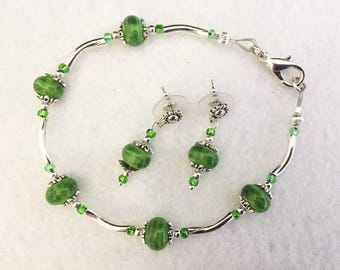 20% off St Patricks Day Sale, earrings, bracelet, jewelry set, green, silver, crystals, handmade, Sassy Shack Designs, gift