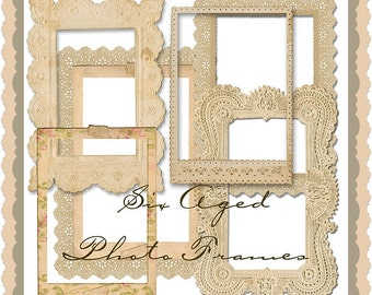 Set of six scrummy vintage aged photo frame/borders