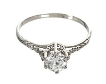 Art Deco .55 carat diamond ring 14k white gold