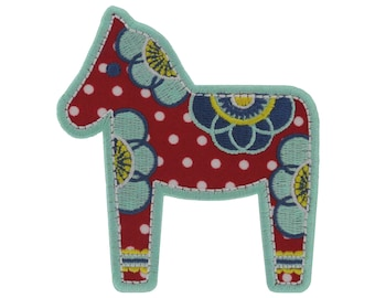 Iron on Patch Applique Polka Dot Embroidered Dala Horse