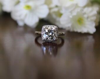 7.5mm Cushion Forever One Moissanite & Diamond Halo Engagement Ring 14k White Gold - 2 carat Forever One Moissanite - Cushion Cut