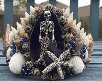 Mermaid Crown, Dead Mermaid, Mermaid Skeleton, Mermaid Tiara, Blue Agate, Siren, Rave, Halloween, Cosplay, Seashell Tiara, Shells, Raver,
