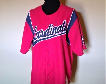 Vintage Stiches Athletic Wear Saint Louis Cardinals Button Up Jersey - Size Large
