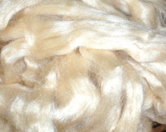 Bleached White Tussah Silk Top, sold by the oz, bombyx, roving, sliver, spinning fiber, art yarn, needle felting,tussah,sari, recycled