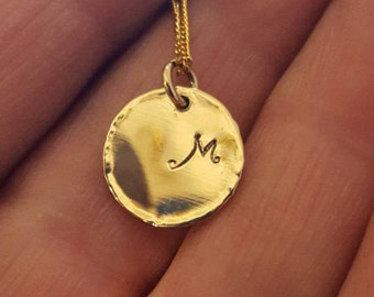 Initial Disk Necklace, 14k Gold Disk Necklace, Gold Necklace, Monogram Letter Disc, Personalized Gold Necklace, Large Circle Tag, Handmade