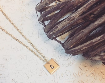 16k Gold Plated 11mm Square Disc Handstamped Initial Necklace