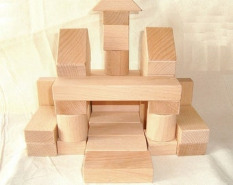 Wooden blocks (36ps). Wood constructor. Wood building blocks. Wood blocks