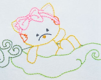 Color work Kitty in a peapod machine embroidery