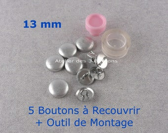 """5 Cover Buttons 1/2"""" (Size 20) with assembly tool"""