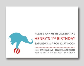 Circus Elephant Birthday Invitation - Custom DIY Printable