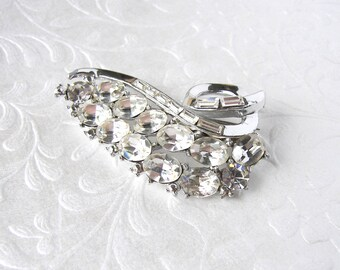 Floating Leaf Vintage Rhinestone Brooch Formal Costume Jewelry Bridal Gown Pin Wedding Bouquet Clip Pageant Ballroom Costume Accessory Prom