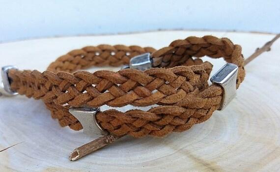 Brown Leather Bracelet, Man Brown Bracelet, Leather Braided Bracelet, Brown Cord Wristband, Mens Cuff Bracelet, Men Statement Jewelry
