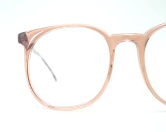 Vintage 1970s Round Oversized Blush Dark Pink Glasses Clear Eyeglasses Deadstock SRO Indie Classic Wayfarer Retro 70s Seventies Plum