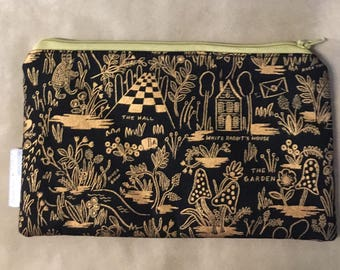 Alice in Wonderland Gold and Black Travel Cosmetic Pencil Case Make Up Bag Clutch Gift