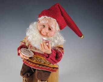 "Nisse, Tomte, Elf Doll, Fantasy Art Doll, Handmade Nisse, Fairy, ""Brewster the Secret Keeper"""