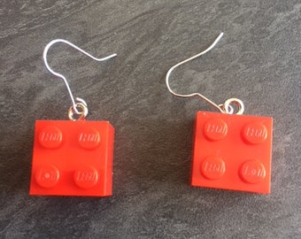 Red lego earrings pair