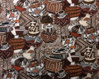 Fabric Southwest Native American Pottery Brown 100% Cotton Quilt Eustheelf  BT