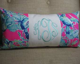 """Lilly Pulitzer Accent Pillow 10""""x20""""(Lobsters in Love) INSERT INCLUDED/Preppy /Dorm Bedding/Nursery Gift/Sorority/Girls Room"""