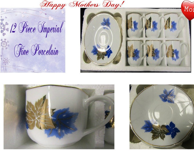 Imperial Fine Porcelain Coffee Set , 12 Pieces, in the Original Box, Excellent Condition,  With Reduced Shipping