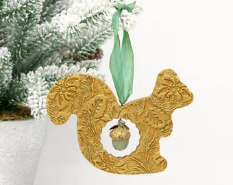 Golden Squirrel Ornament with an Acorn