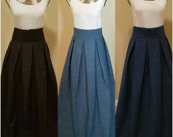 Denim Box Pleat Maxi Skirt