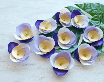 Fabric flower appliques, satin flower embellishment, floral supply, fabric flowers for crafts, silk flowers (10pcs) PURPLE LAVENDER PANSIES