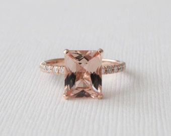 Radiant Cut Morganite Solitaire Diamond Ring in 14K Rose Gold