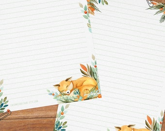 Fox & flowers - DOWNLOAD file - Printable Writing paper - A5 size