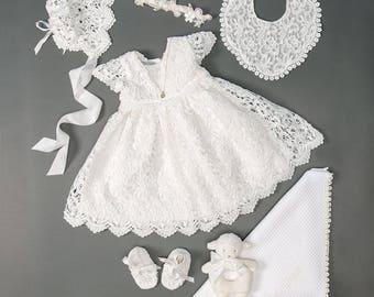 Lola Lace Baby Dress Set, Girls Christening Dress, Baby Blessing Dress, Lace Baptism Dress - SET SALE - SAVE 10%