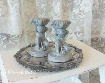 "Cherubs Candle Sticks Paris Grey Set/2 Vintage 6"" H Chalkware Angels Putti Romantic Wedding Shabby Cottage French Farmhouse Style Decor"