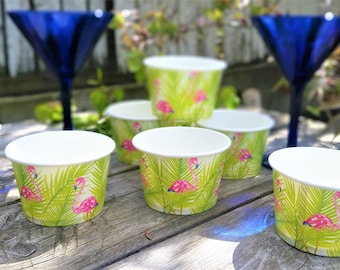 16 Flamingo paper 8oz/200ml ice-cream cup bowls/cups - pink flamingo paper ice-cream bowls/cups - flamingo/tropical party cups