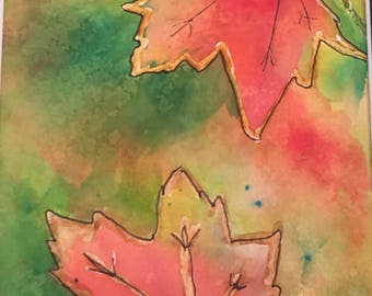 Watercolor Original -Fall Leaves