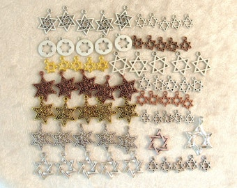 Star of David Charms - Huge 72 Piece Collection!