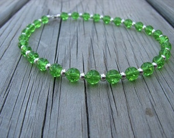 Ankle Bracelet- Green and Silver Beaded Ankle Bracelet
