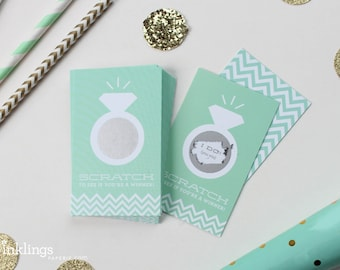 SALE! 24 Scratch Off Cards for Bridal Shower Game // Mint Green