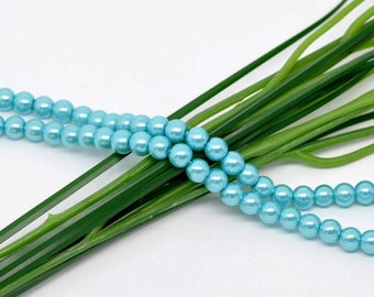 8mm Aqua Blue Glass Pearl Imitation Round Beads - 32 inch strand - Approx. 105 beads per strand - Hole Size: 1mm