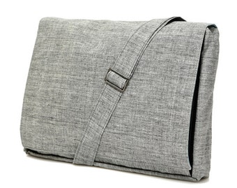 Grey, Cotton, Messenger Bag, Padded bag -- Mula in Grey