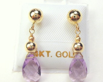 14K Gold, Amethyst Earrings, Gemstone Earrings, Gem Drops, Natural Stones, Solid Gold Earrings, Post Back, Butterfly Clutch,Feb.Birthstones
