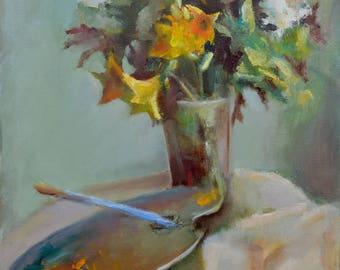 giclee of oil painting,цветы,натюрморт,зеленый,масло,холст