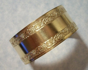 Unfinished Raw Brass Cuff Bracelet Blank Floral Border Smooth Center Perfect for Embellishments, Engraving, Riveting, Altered Art Projects