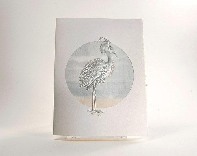 Blue Heron Bird Card. Embossed. Letterpress. Note card. Single card. Blank inside.