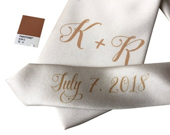 Custom Wedding Ties. Initials w/ Pretty Script handwritten font. Personalized monogram name tie. Add wedding date/message on tie tail too!