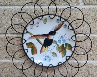 Bird Plate with Black Looped Wire Frame - Retro Vintage Wall Art - 1950's Hand Painted Art - Mid Century Wire Framed Art