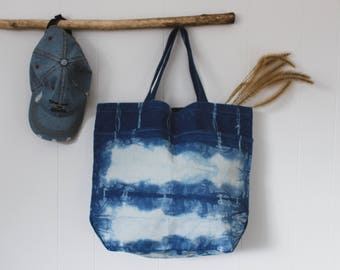 Hand Dyed Shibori Canvas Tote