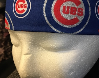 Chicago Cubs headband blue silver glitter