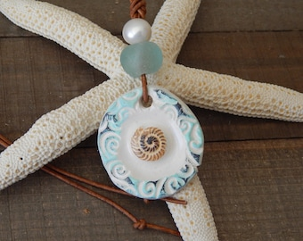 Leather necklace with a ceramic pendant and freshwater pearl, adjustable necklace, boho style jewelry, summer jewelry