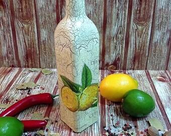 Olive oil bottle, olive oil vinegar bottle,  olive oil dispenser, lemons decoration, mediterranean kitchen, glass bottle, oil vinegar cruet