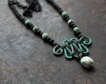 Iron Age chain divider necklace, rustic adjustable necklace, norse necklace, history inspired necklace, turquoise necklace, Viking necklace