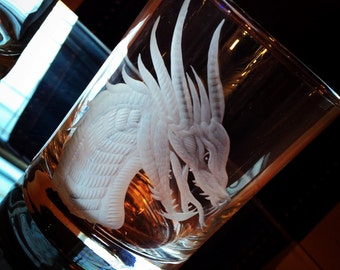 Hand Engraved Whiskey Rocks Glass Featuring Dragon Head Design